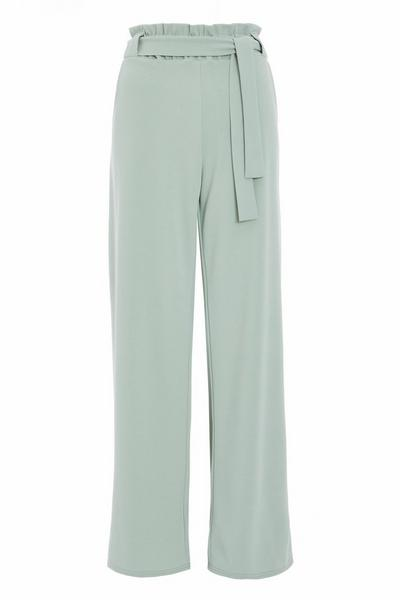 Sage Tie Belt Palazzo Trousers