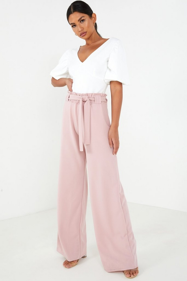 Pink Tie Belt Palazzo Trousers