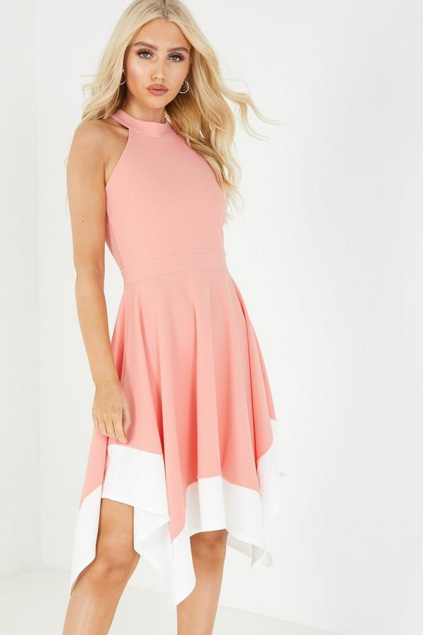 Coral High Halterneck Skater Dress