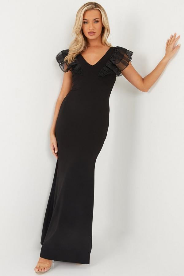 Black Mesh Ruffle Shoulder Maxi Dress
