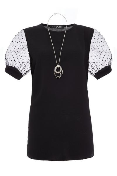 Black Polka Dot Necklace Top