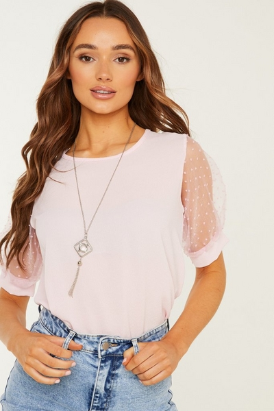 Pink Polka Dot Necklace Top