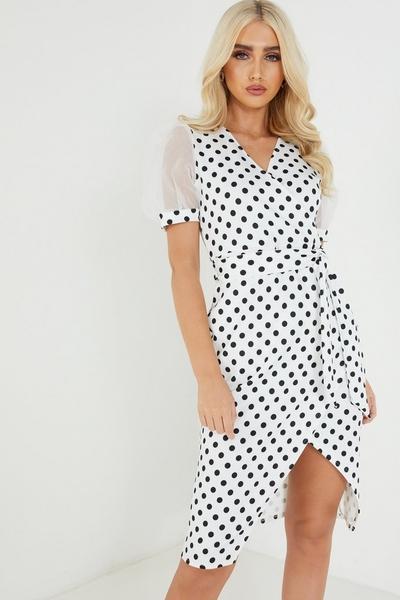 Cream Polka Dot Wrap Midi Dress
