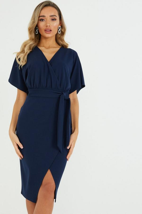 Navy Wrap Batwing Sleeve Midi Dress