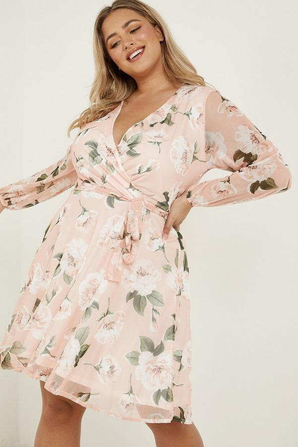 Curve Peach Floral Skater Dress