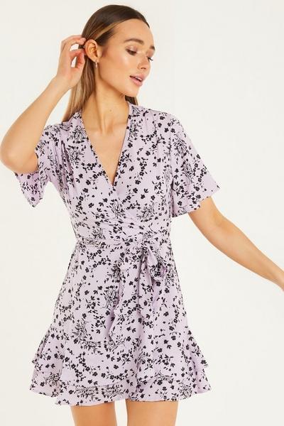 Lilac Ditsy Floral Print Skater Dress