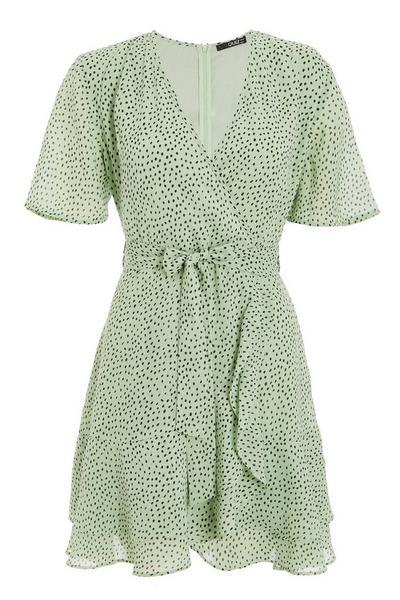 Green & Black Dalmatian Print Wrap Dress