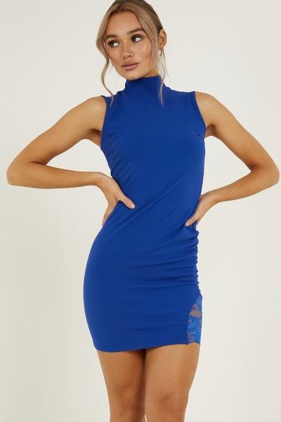Royal Blue Lace Insert Bodycon Dress