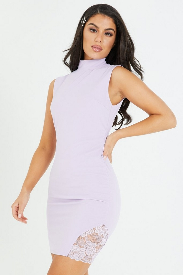 Lilac Lace Insert Bodycon Dress