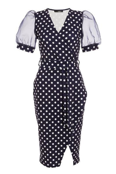 Navy Polka Dot Wrap Midi Dress