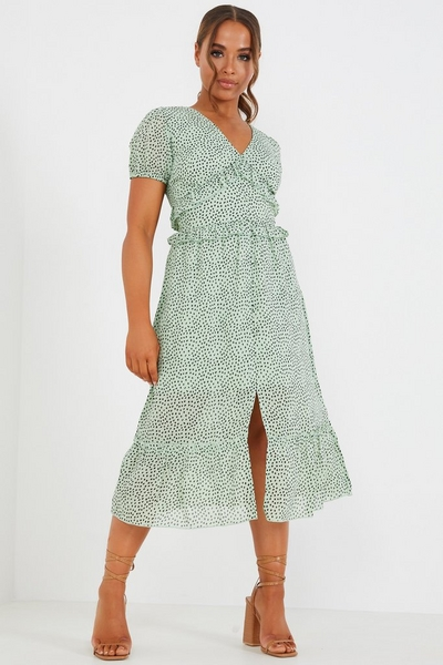 Petite Green & Black Dalmatian Print Midi Dress