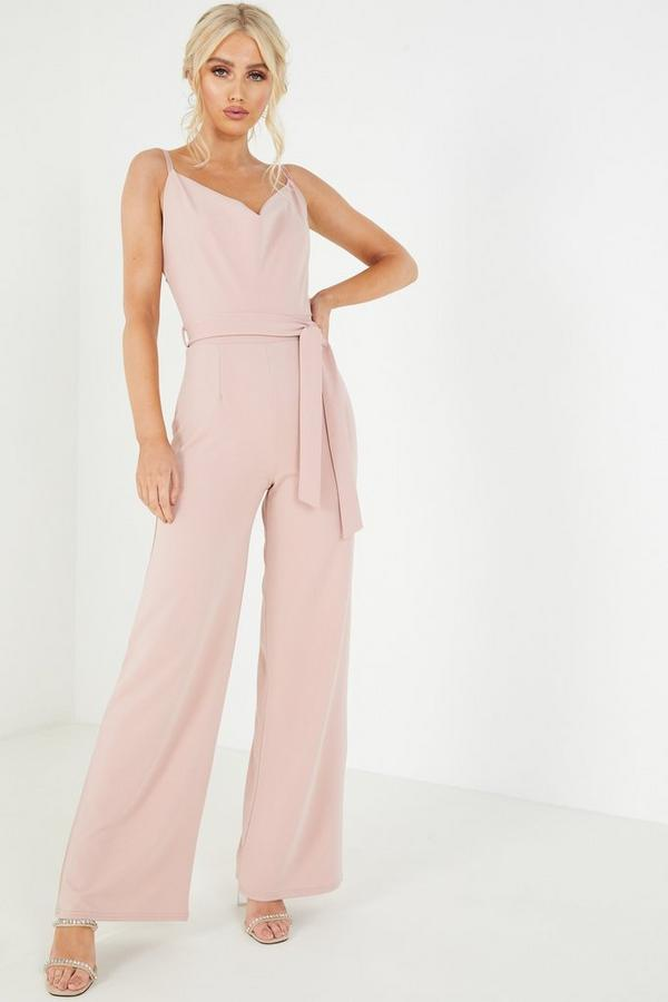 Pink Cowl Neck Palazzo Jumpsuit
