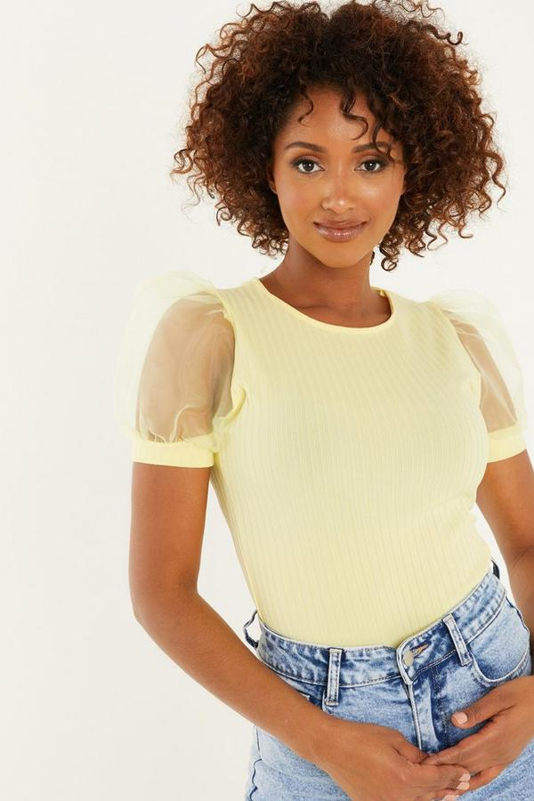 Lemon Organza Puff Sleeve T Shirt