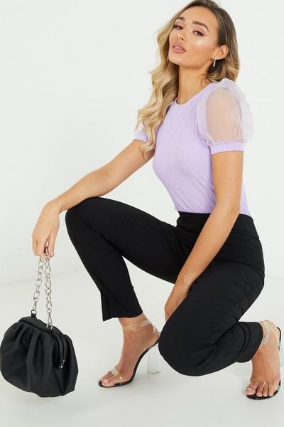 Lilac Organza Puff Sleeve T Shirt