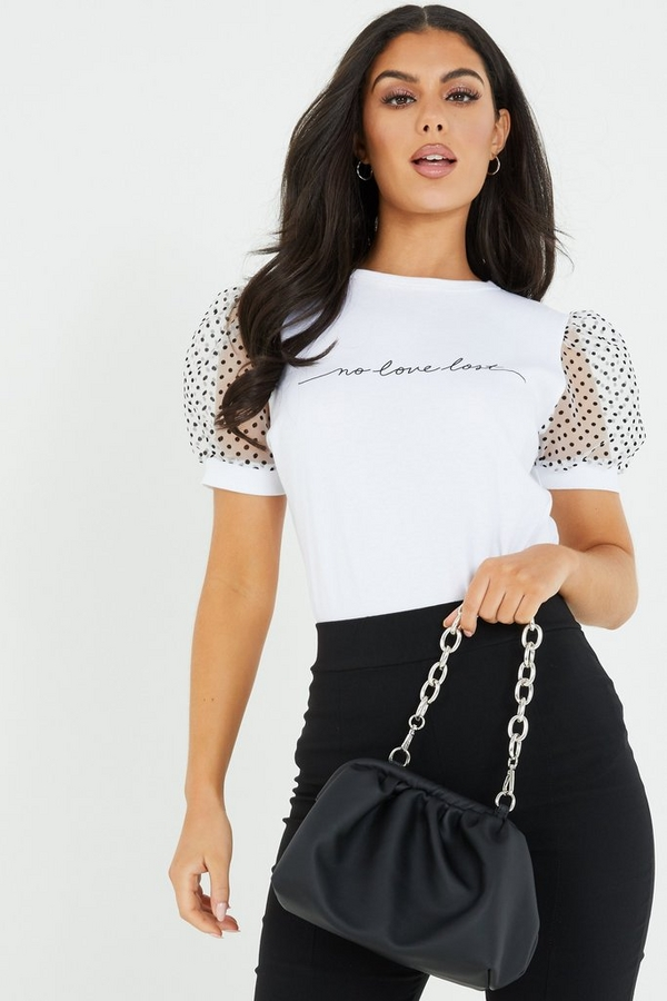 White Slogan Organza Sleeve Top