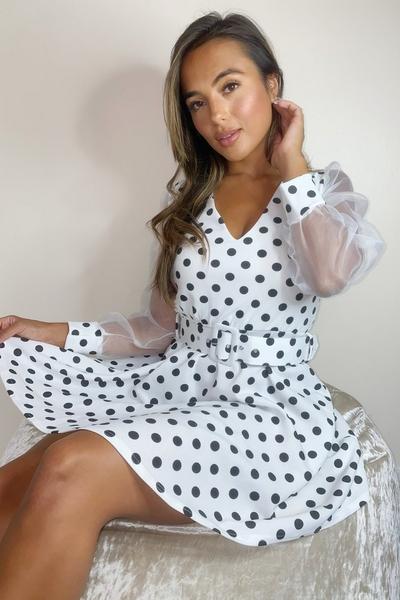 Petite Cream Polka Dot Dress