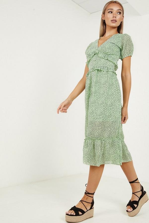 Green & Black Dalmatian Print Midi Dress