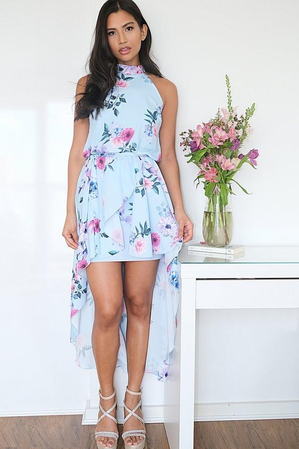Blue & Pink Floral Dip Hem Dress