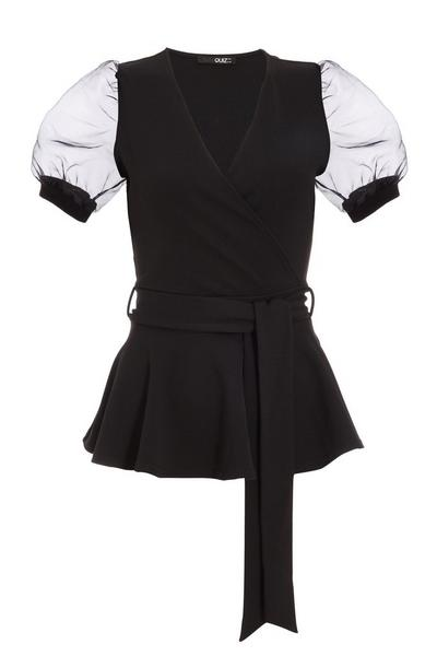 Black Organza Wrap Puff Sleeve Top