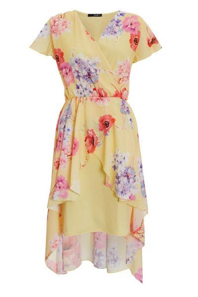 Yellow Floral Dip Hem Dress