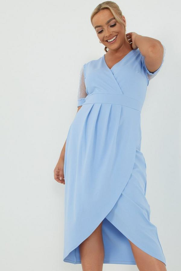 Curve Blue Organza Sleeve Midi Dress