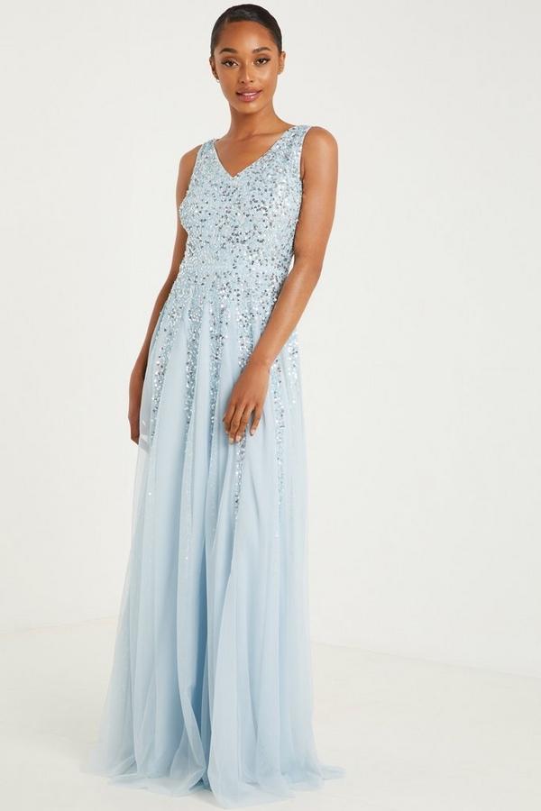Blue Sequin V Neck Maxi Dress