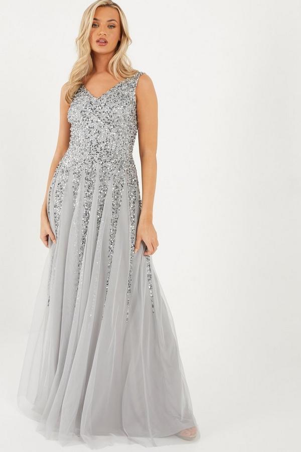 Grey Sequin V Neck Maxi Dress