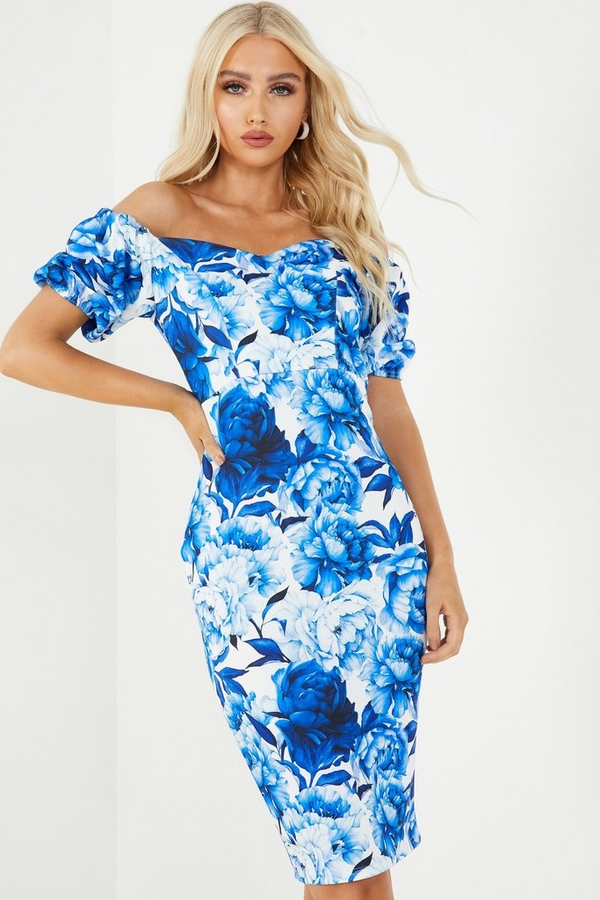 Blue Floral Bardot Midi Dress