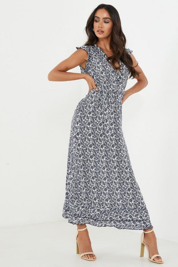 Navy Floral V Neck Midi Dress