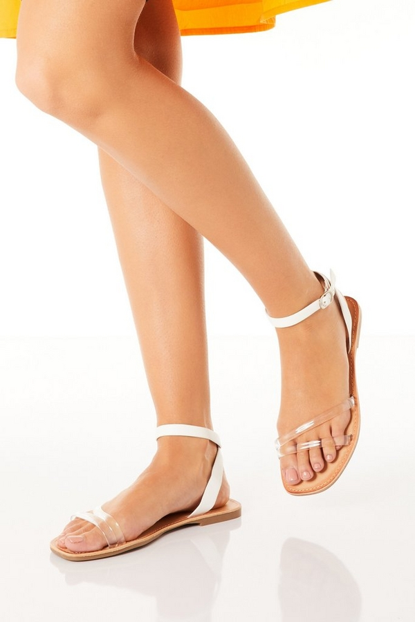White Clear Strap Flat Sandals
