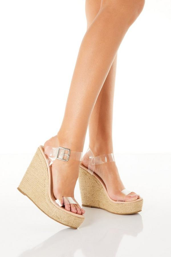 Clear Strap High Wedges