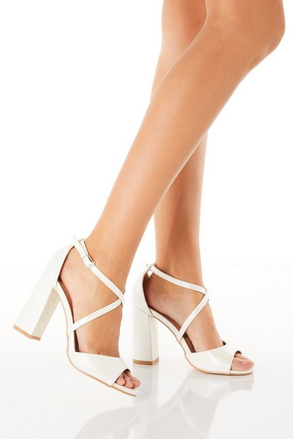 White Pearlescent Heeled Sandal