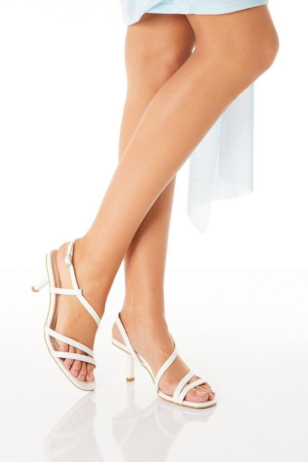 White Faux Leather Heeled Sandal