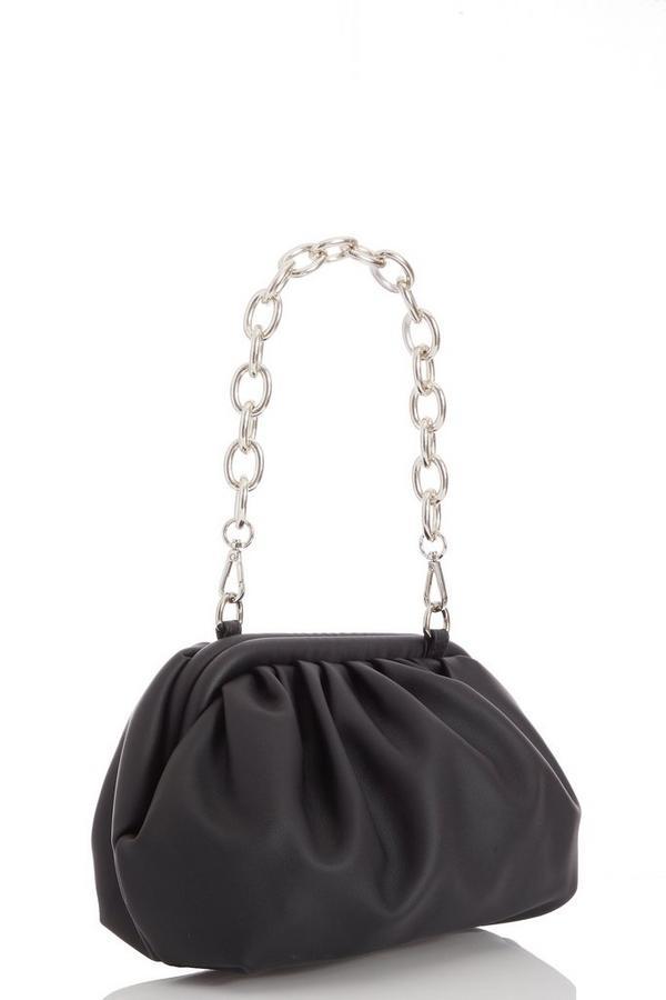 Q x Joanna Chimonides Black Faux Leather Gathered Bag