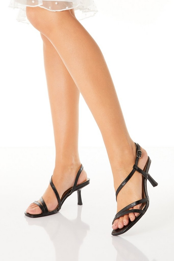 Black Faux Leather Heeled Sandal