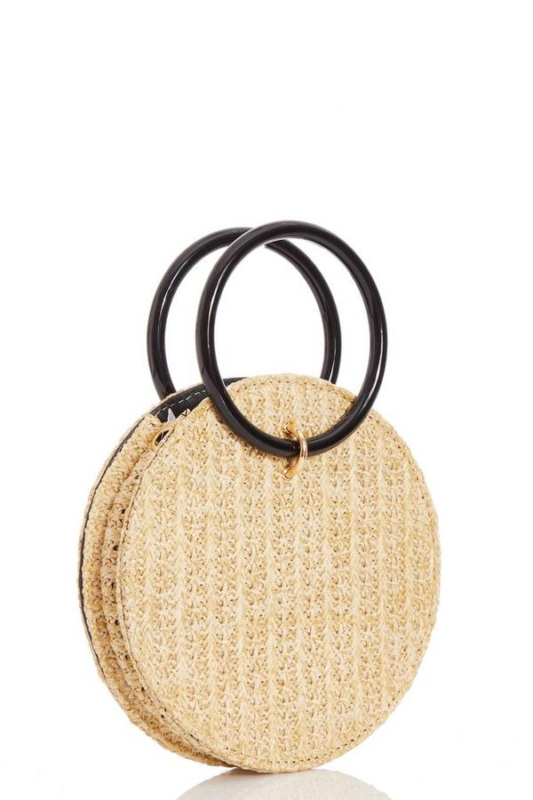 Cream Straw Round Bag