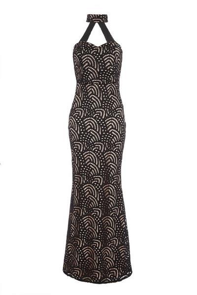 Black Lace Fishtail Maxi Dress