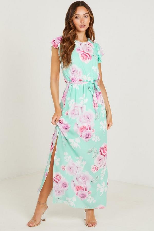 Mint Chiffon Floral Maxi Dress