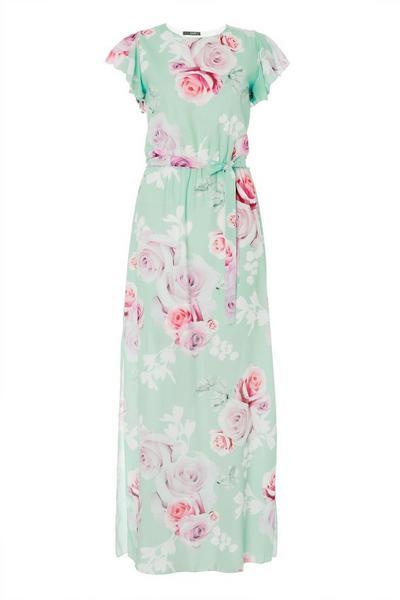 Mint Chiffon Floral Wrap Maxi Dress