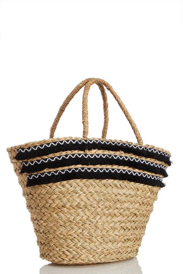 Cream Straw Fringe Bag