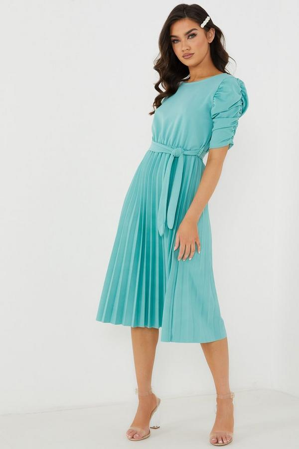 Mint Pleated Puff Sleeve Midi Dress