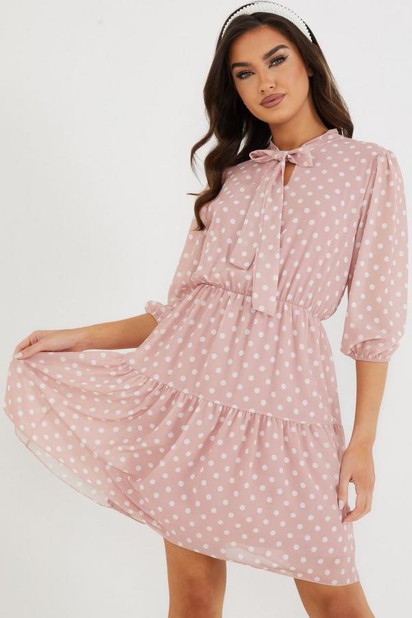 Pink Chiffon Polka Dot Dress