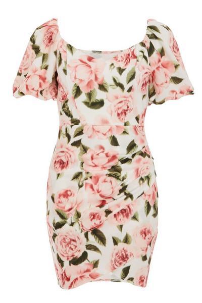 Cream Floral Sweetheart Bodycon Dress