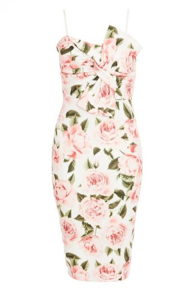 Cream Floral Bow Front Midi Dress