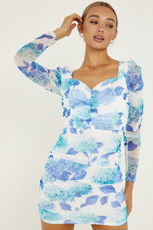 Blue Floral Puff Sleeve Dress