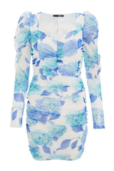 Blue & White Floral Puff Sleeve Dress