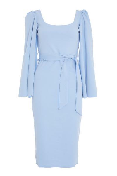 Blue Cape Sleeve Tie Belt Midi Dress
