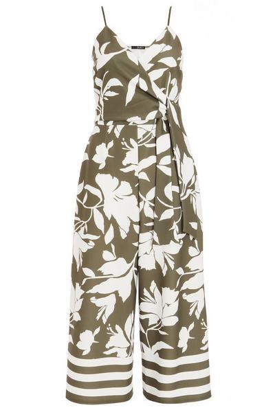 Khaki Floral Culotte Jumpsuit