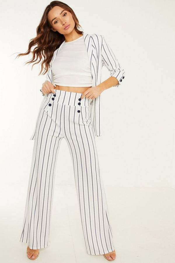 White & Navy Stripe Trouser