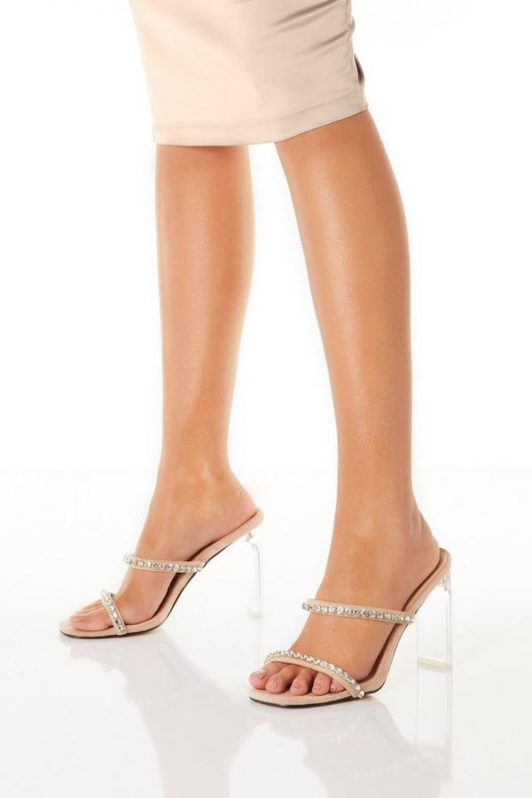 Nude Diamante Clear Heeled Sandal